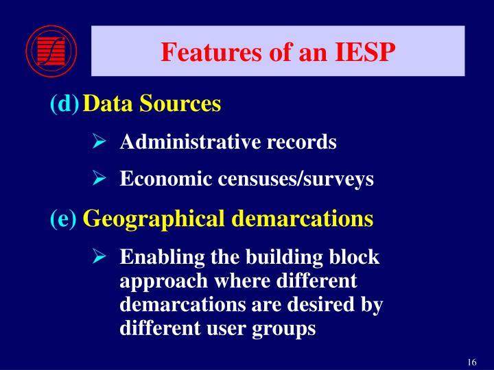 Features of an IESP