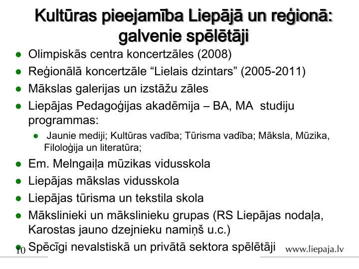 Kultūras pieejamība Liepājā un reģionā: galvenie spēlētāji