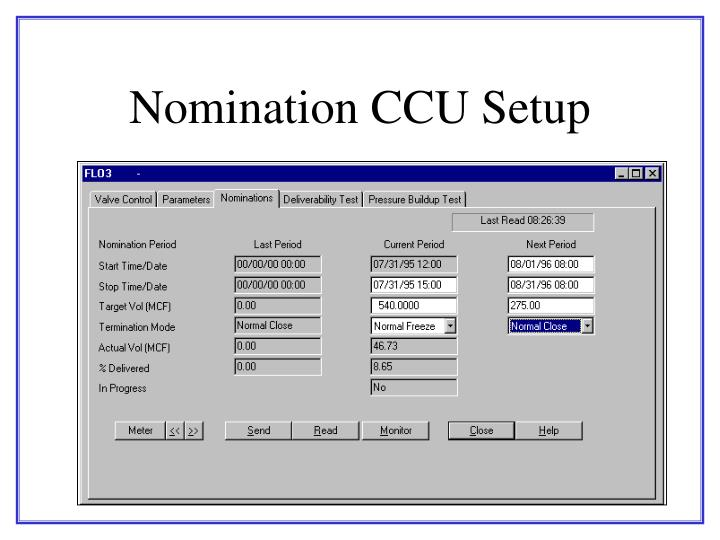 Nomination CCU Setup