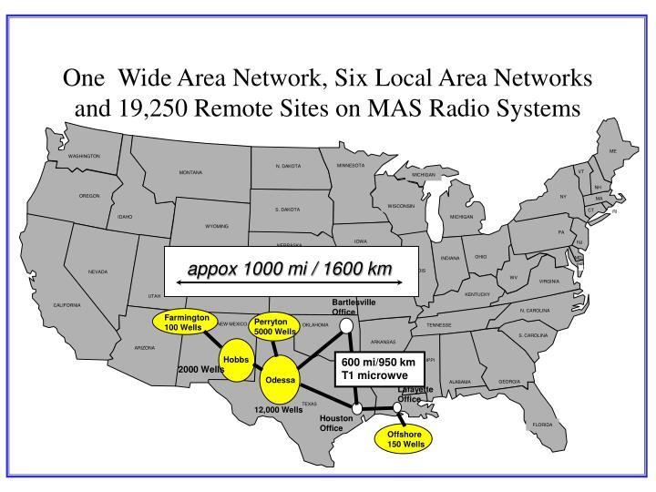 One wide area network six local area networks and 19 250 remote sites on mas radio systems