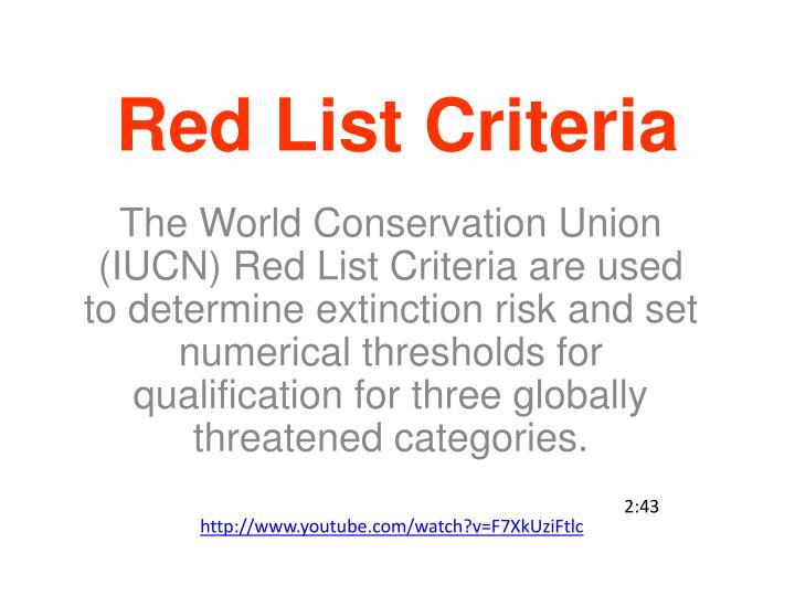 Red List Criteria
