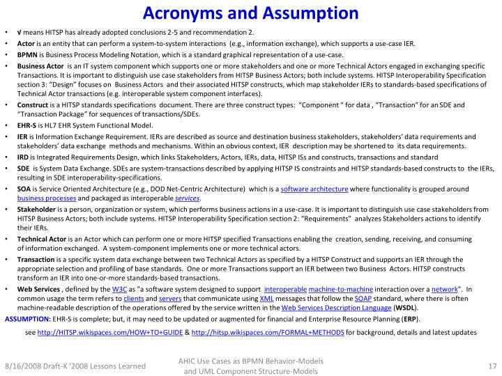Acronyms and Assumption