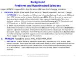 background problems and hypothesized solutions