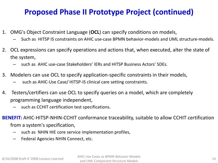 Proposed Phase II Prototype Project (continued)