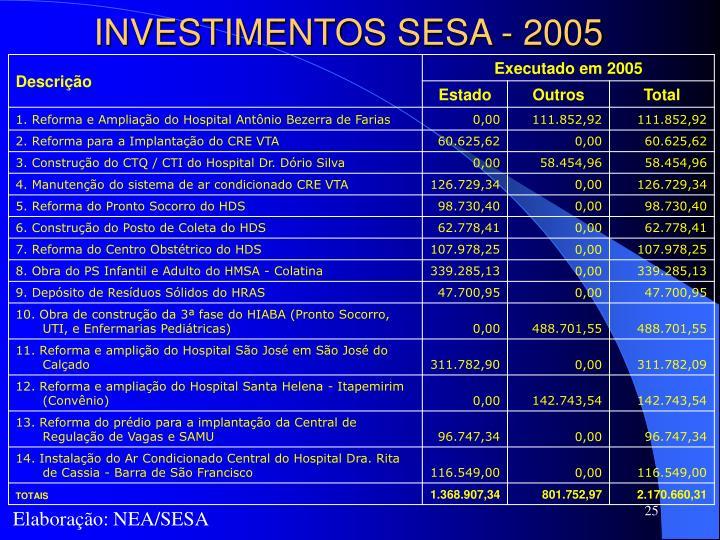 INVESTIMENTOS SESA - 2005