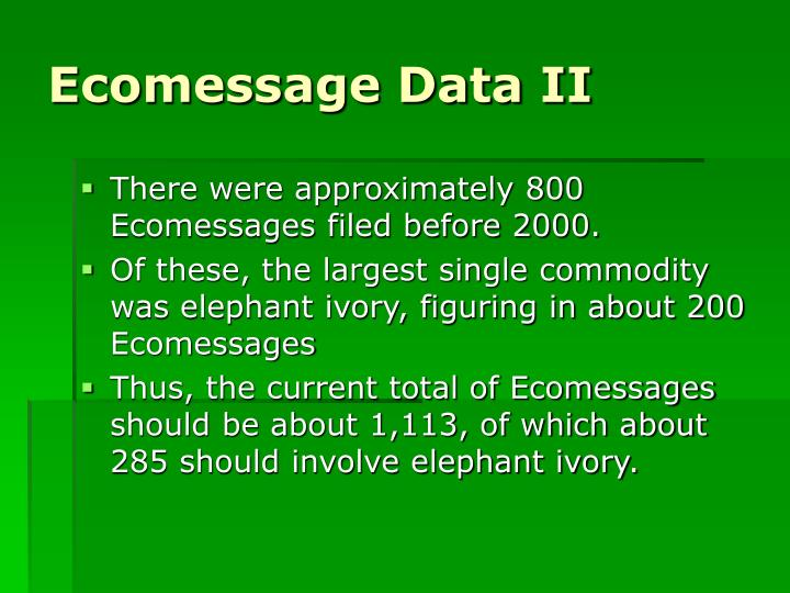 Ecomessage Data II
