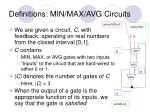 definitions min max avg circuits