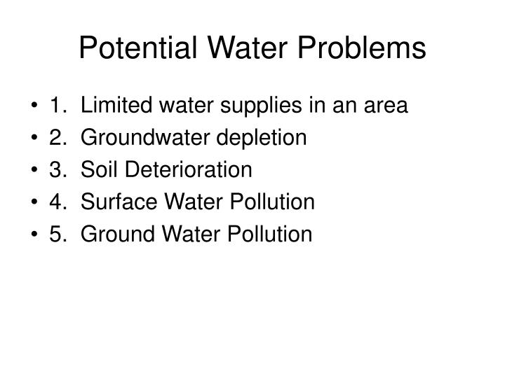 Potential Water Problems