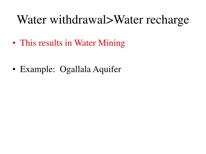 Water withdrawal>Water recharge