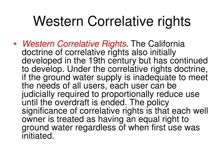 Western Correlative rights