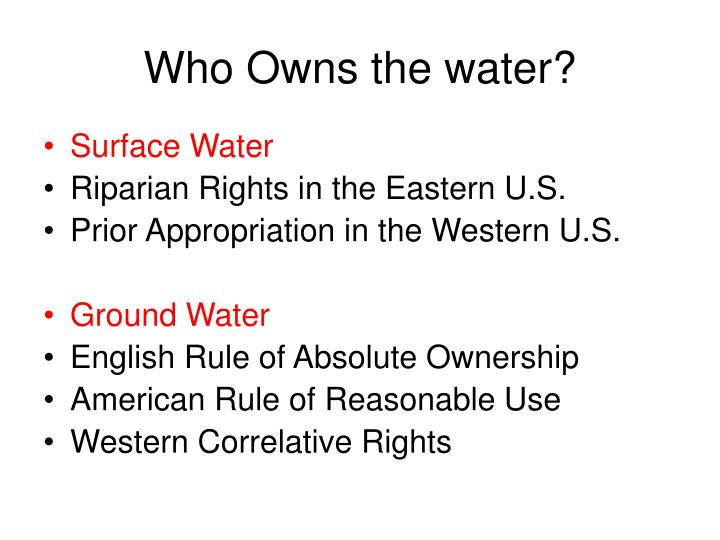 Who owns the water