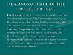 hearings outside of the protest process