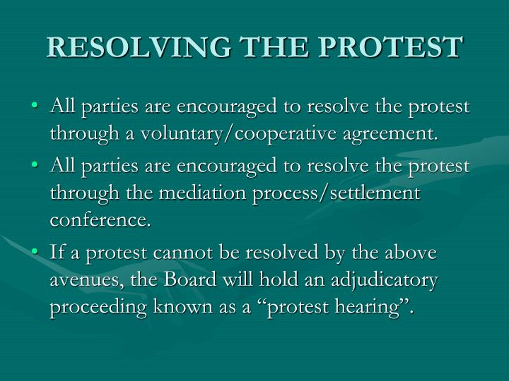 RESOLVING THE PROTEST