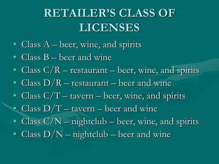RETAILER'S CLASS OF LICENSES