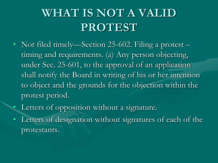 WHAT IS NOT A VALID PROTEST