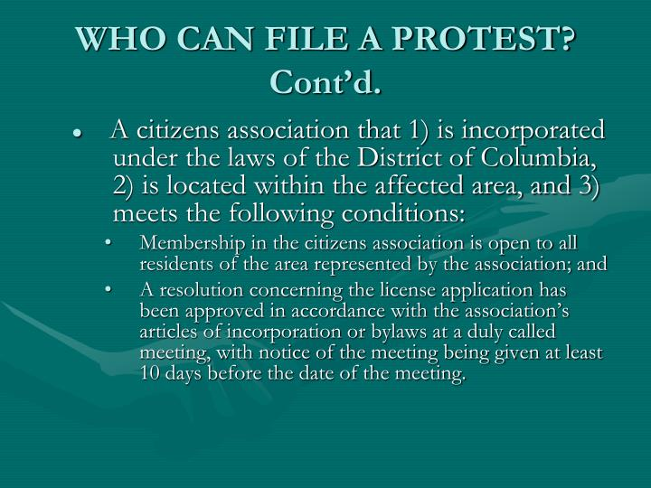 WHO CAN FILE A PROTEST? Cont'd.