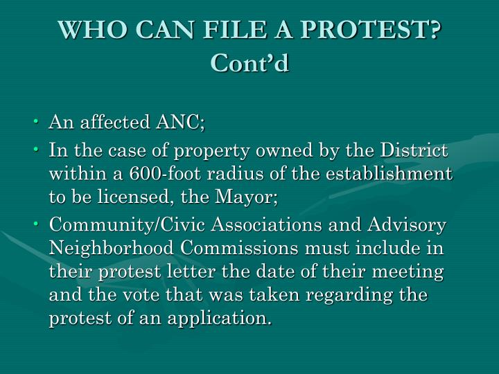 WHO CAN FILE A PROTEST? Cont'd