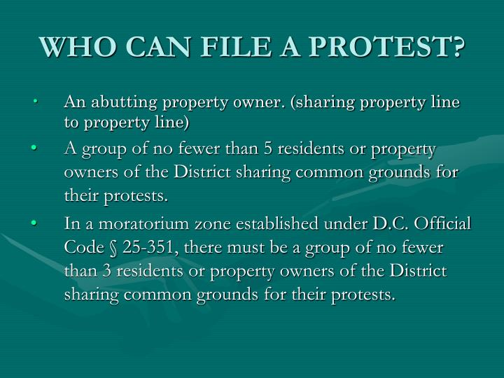 WHO CAN FILE A PROTEST?