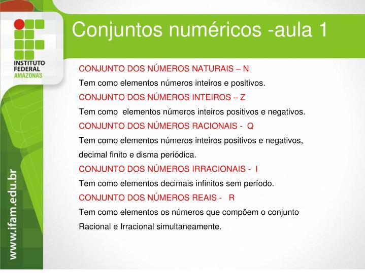 Conjuntos numéricos -aula 1