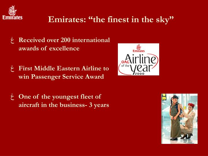 "Emirates: ""the finest in the sky"""