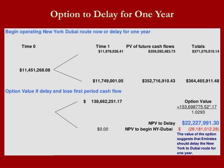 Option to Delay for One Year