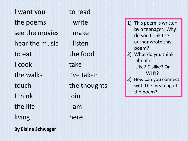 This poem is written by a teenager.  Why do you think the author wrote this poem?