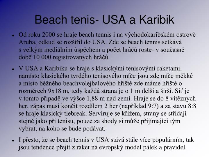 Beach tenis- USA a Karibik