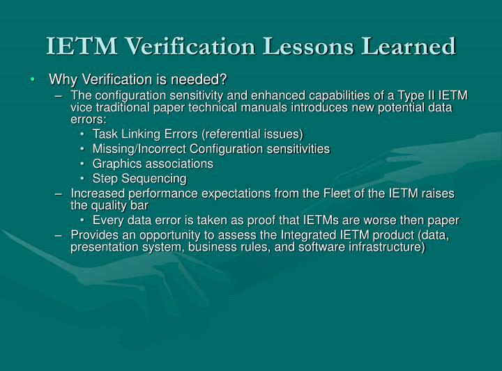 IETM Verification Lessons Learned