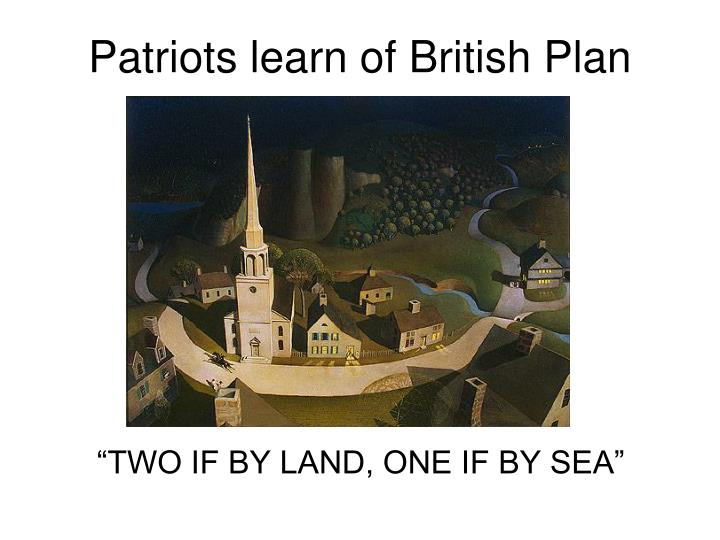 Patriots learn of British Plan