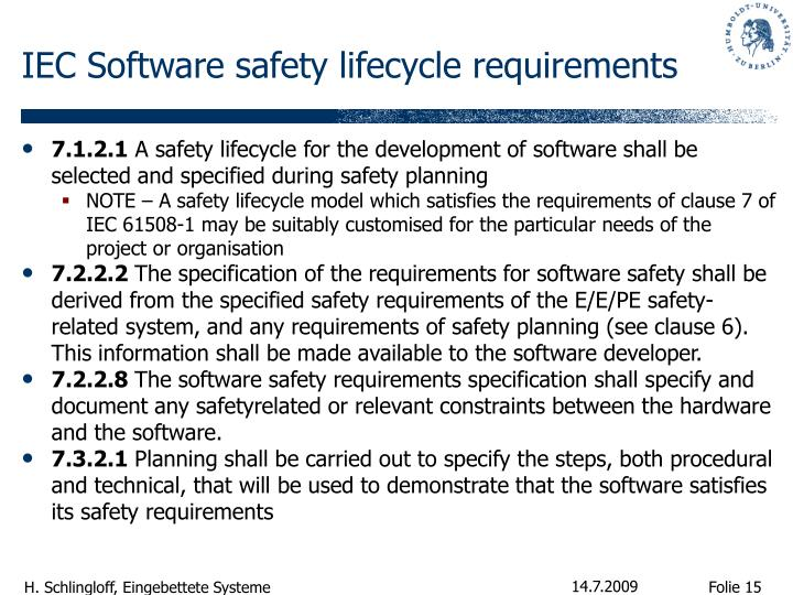 IEC Software safety lifecycle requirements