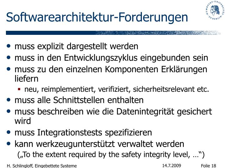Softwarearchitektur-Forderungen