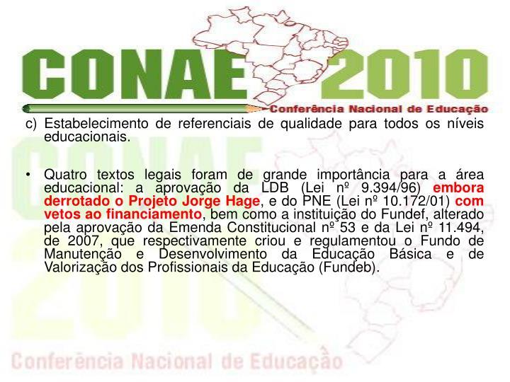 c) Estabelecimento de referenciais de qualidade para todos os nveis educacionais.