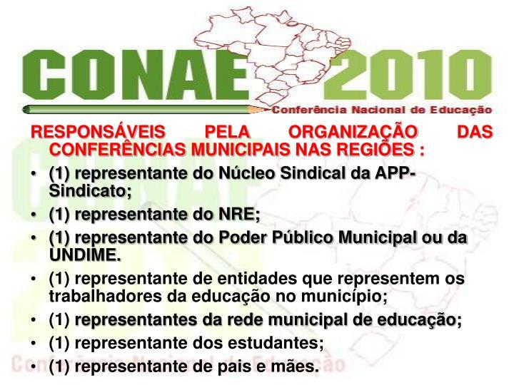 RESPONSVEIS PELA ORGANIZAO DAS CONFERNCIAS MUNICIPAIS NAS REGIES :