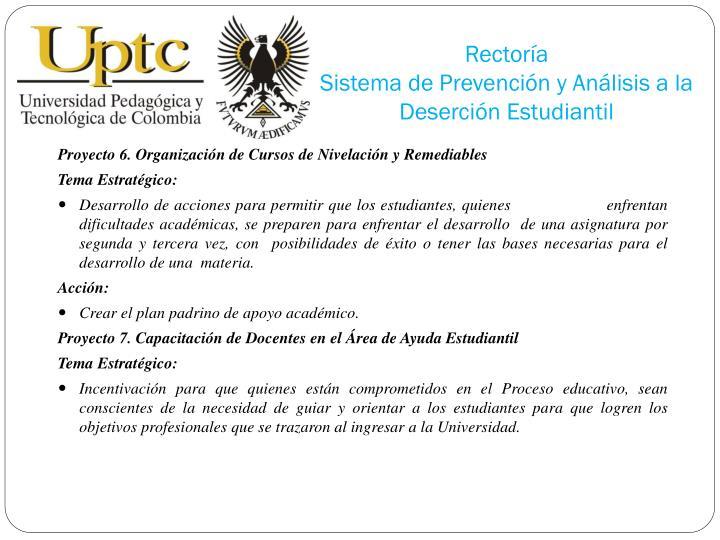 Proyecto 6. Organización de Cursos de Nivelación y Remediables