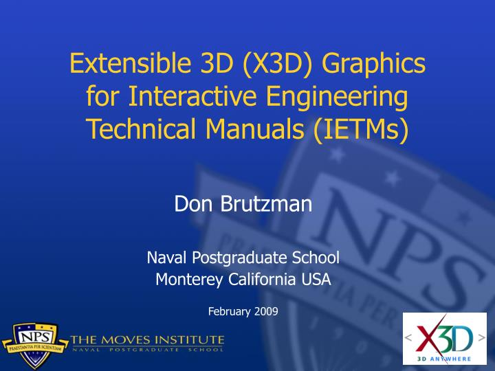 Extensible 3d x3d graphics for interactive engineering technical manuals ietms