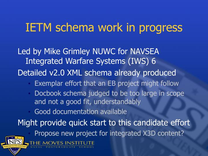 IETM schema work in progress