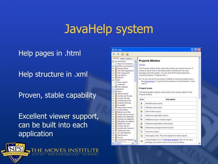 JavaHelp system