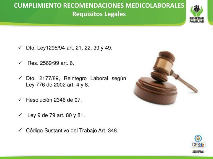 CUMPLIMIENTO RECOMENDACIONES MEDICOLABORALES
