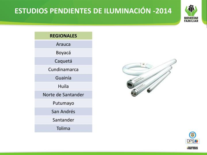 ESTUDIOS PENDIENTES DE ILUMINACIÓN -2014