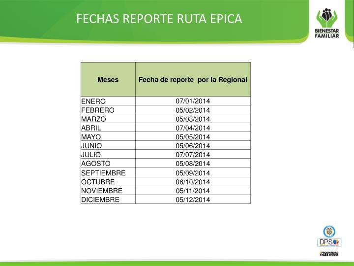 FECHAS REPORTE RUTA EPICA