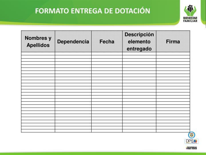 FORMATO ENTREGA DE DOTACIÓN