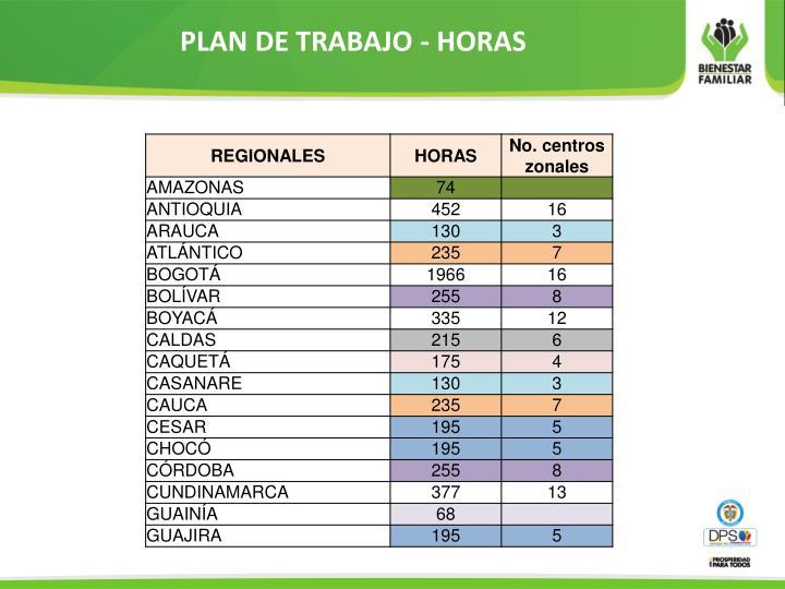 PLAN DE TRABAJO - HORAS