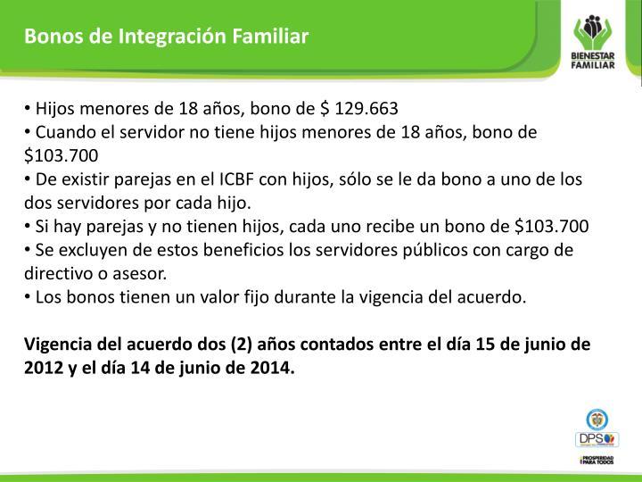 Bonos de Integración Familiar