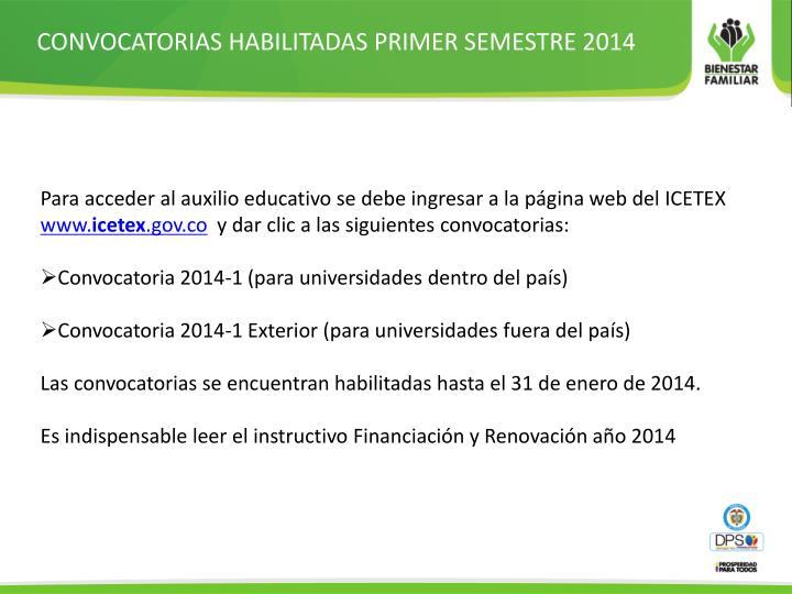 CONVOCATORIAS HABILITADAS PRIMER SEMESTRE 2014