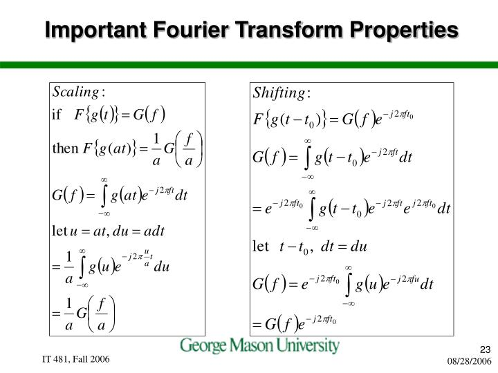 Important Fourier Transform Properties