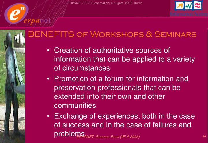 BENEFITS of Workshops & Seminars