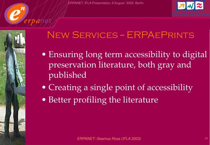 New Services -- ERPAePrints