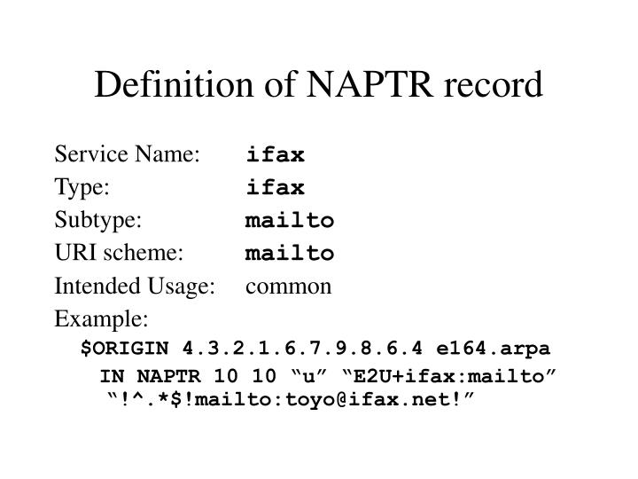 Definition of NAPTR record