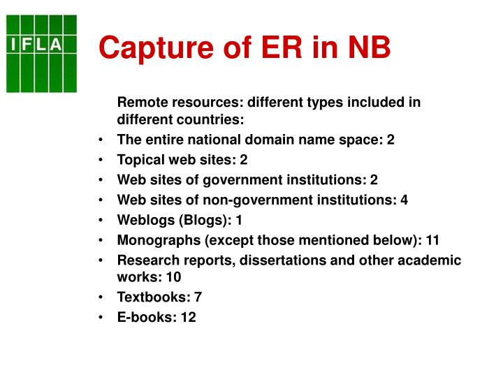 Capture of ER in NB