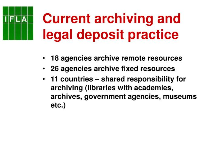 Current archiving and legal deposit practice